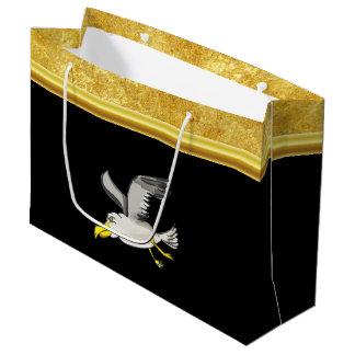Sacola Para Presentes Grande Vôo da gaivota aéreo com um design da folha de