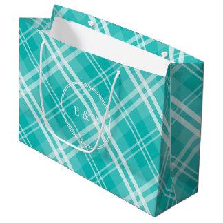 Sacola Para Presentes Grande Xadrez azul do Scottish do Tartan do Aqua de