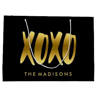 Sacola Para Presentes Grande XOXO abraça e beija o preto da tipografia do ouro