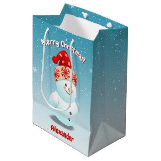 Sacola Para Presentes Média 2 bonecos de neve bonitos com narizes da cenoura