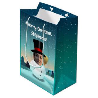 Sacola Para Presentes Média 2 bonecos de neve engraçados personalizados com