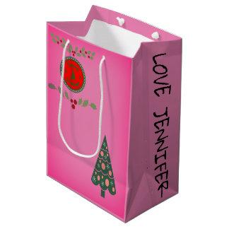 Sacola Para Presentes Média A árvore de Natal do azevinho dos cumprimentos das