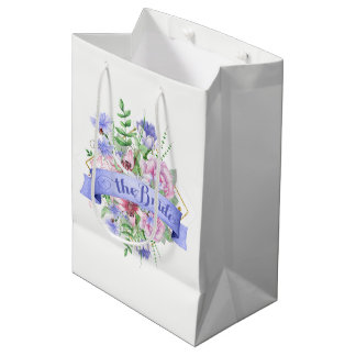 Sacola Para Presentes Média A Tipografia-Aguarela da noiva floresce o buquê