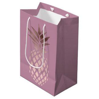 Sacola Para Presentes Média abacaxi tropical do ouro cor-de-rosa elegante do