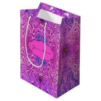 Sacola Para Presentes Média Abstrato magenta cor-de-rosa e do roxo