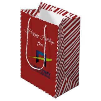 Sacola Para Presentes Média Adicione seu feriado vermelho (retangular) do