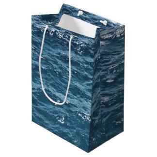 Sacola Para Presentes Média Água azul náutica do oceano