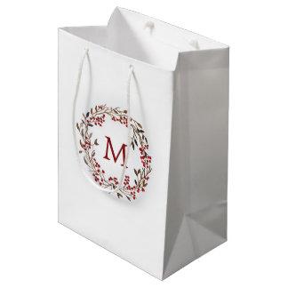 Sacola Para Presentes Média Aguarela do Natal | - grinalda festiva das bagas