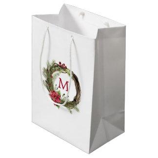 Sacola Para Presentes Média Aguarela do Natal | - grinalda floral do Natal