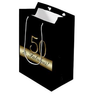 Sacola Para Presentes Média Aniversário elegante 50 do ouro 50th e fabuloso