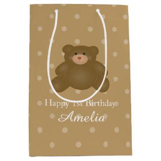 Sacola Para Presentes Média Aniversário peluches bonito do bebé do urso de