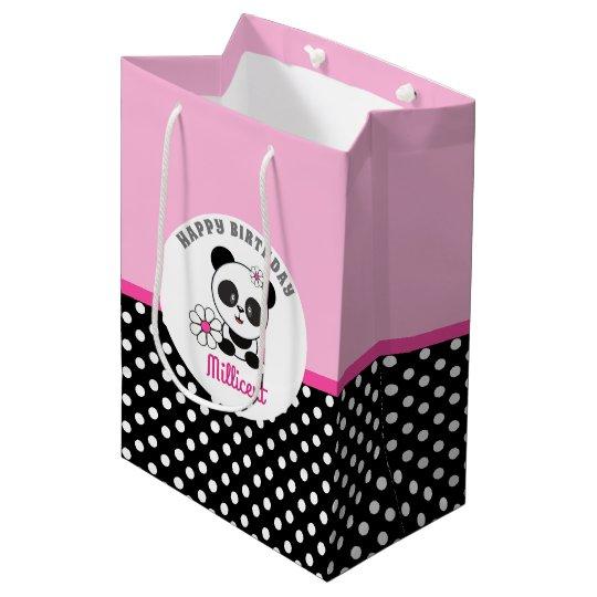 8163384a8f6f40 Sacola Para Presentes Média Aniversário personalizado panda do bebê