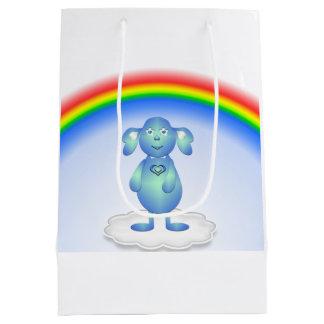 Sacola Para Presentes Média Azul de bebê e o arco-íris