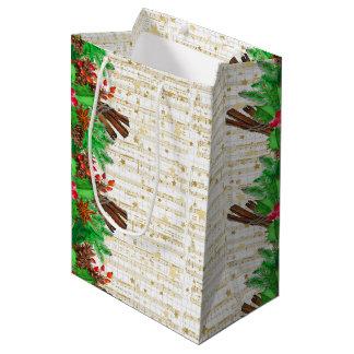Sacola Para Presentes Média Bagas do azevinho do Natal