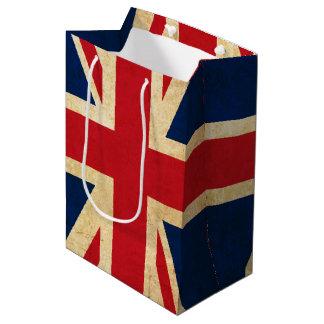 Sacola Para Presentes Média Bandeira velha Union Jack de Reino Unido do Grunge