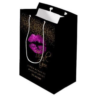 Sacola Para Presentes Média Batom cor-de-rosa roxo do brilho - obrigado