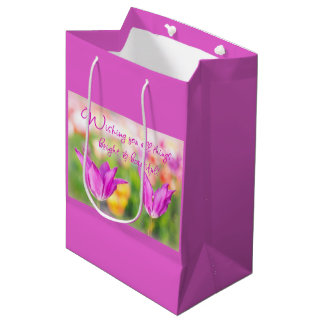 Sacola Para Presentes Média Birthday>Christian>Tulips> brilhante & bonito