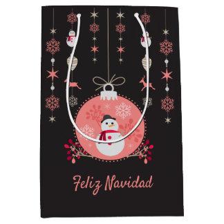 Sacola Para Presentes Média Boneco de neve Navidad do quadro