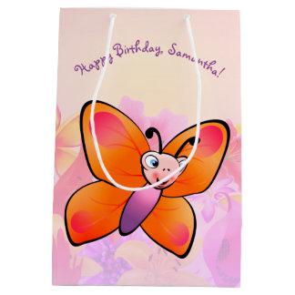 Sacola Para Presentes Média Borboleta bonito com flores coloridas