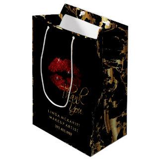 Sacola Para Presentes Média Bordo do brilho da canela & mármore vermelhos do