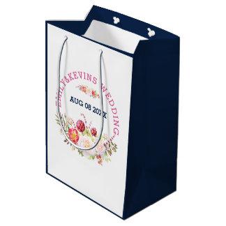 Sacola Para Presentes Média Buquê & texto coloridos das flores para casamentos