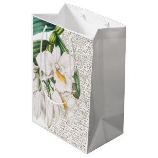 Sacola Para Presentes Média Caligrafia branca das orquídeas