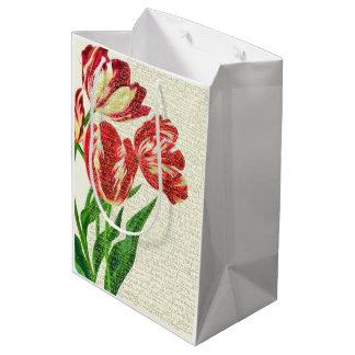 Sacola Para Presentes Média Caligrafia vermelha das tulipas