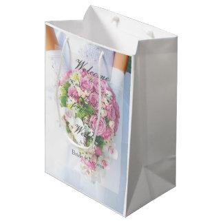 Sacola Para Presentes Média Casamento nupcial do buquê da flor do laço