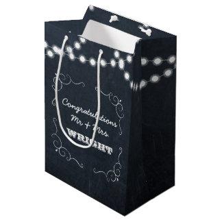 Sacola Para Presentes Média Casamento personalizado luzes do quadro