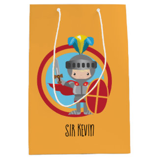 Sacola Para Presentes Média Cavaleiro pequeno na armadura com protetor