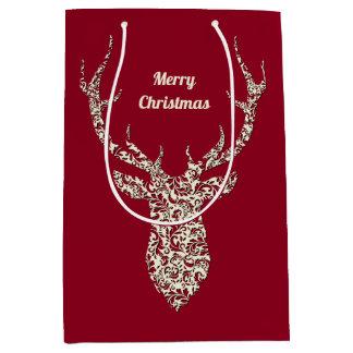 Sacola Para Presentes Média Cervos filigranas do Natal