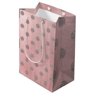 Sacola Para Presentes Média Chique moderno das bolinhas Glam cor-de-rosa do