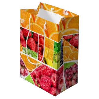 Sacola Para Presentes Média Colagem da fruta da mistura