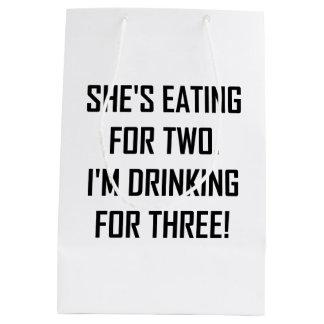 Sacola Para Presentes Média Comer para dois que bebem para três