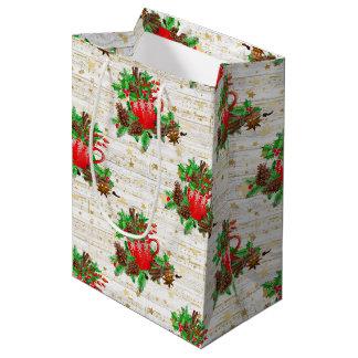 Sacola Para Presentes Média Cones do pinho do Natal