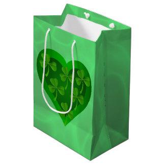 Sacola Para Presentes Média Coração verde com trevos