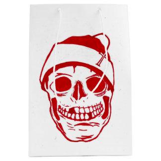 Sacola Para Presentes Média Crânio vermelho no chapéu do papai noel