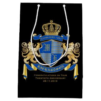Sacola Para Presentes Média Criar seu próprio emblema azul do leão do ouro da