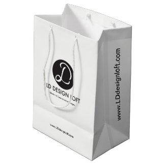 Sacola Para Presentes Média Customizável com logotipo da empresa de negócio,