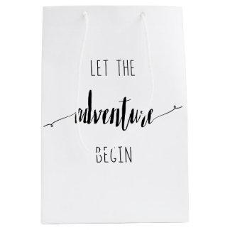 Sacola Para Presentes Média Deixe a aventura começar citações