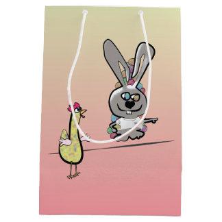 Sacola Para Presentes Média Desenhos animados do coelhinho da Páscoa e da