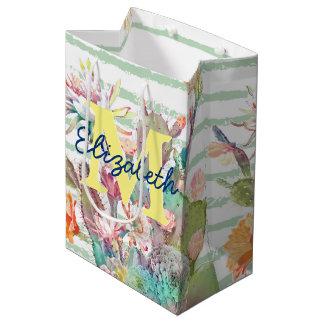 Sacola Para Presentes Média Design do cacto, o floral e das listras da