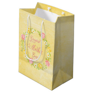 Sacola Para Presentes Média Dia das mães - rosas bonito da aguarela 3 WA