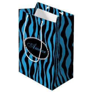 Sacola Para Presentes Média Diamantes azuis do impressão da zebra & monograma