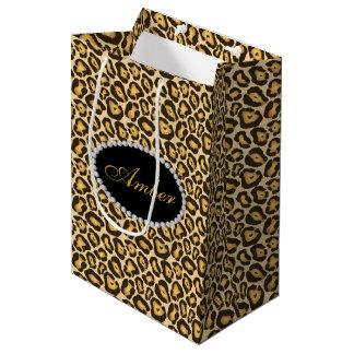 Sacola Para Presentes Média Diamantes do impressão do leopardo & monograma