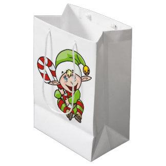 Sacola Para Presentes Média Duende do Natal com as crianças do bastão de doces