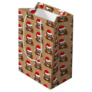 Sacola Para Presentes Média emoji do poo do Natal com o saco do presente do