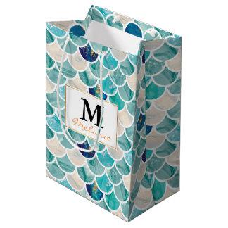 Sacola Para Presentes Média Escalas de peixes da sereia do mármore de turquesa