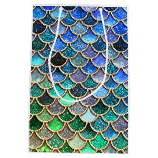 Sacola Para Presentes Média Escalas multicoloridos Springlike da sereia do