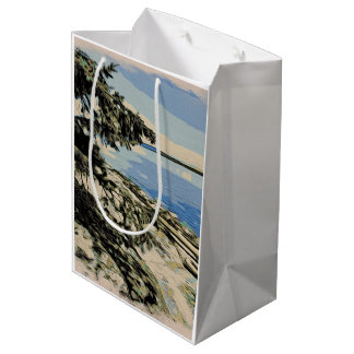 Sacola Para Presentes Média Estilo pacífico do woodblock da praia
